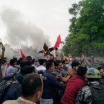 प्रदर्शनीमार्गमा प्रतिगमन विरुद्ध  संयुक्त विद्यार्थीको प्रदर्शन